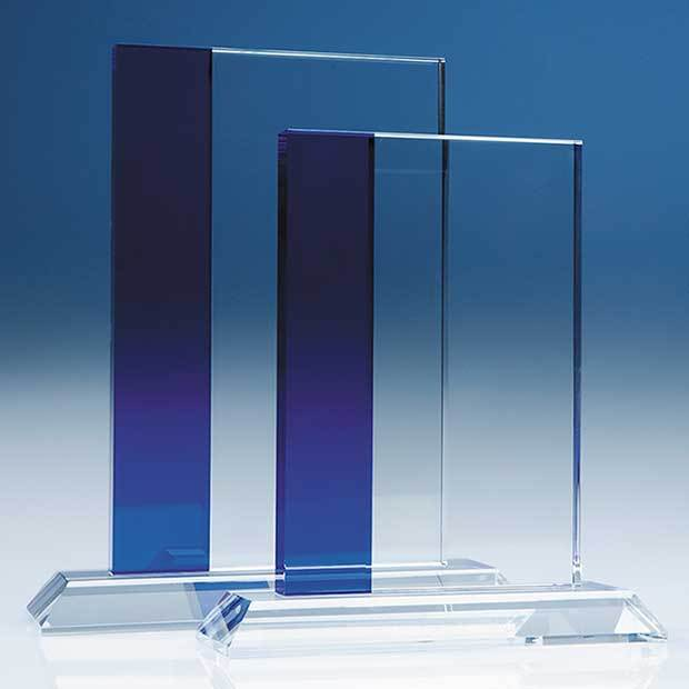 23cm Optical Crystal Blueline Rectangle