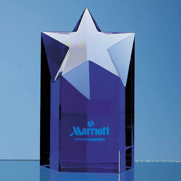 SY2022P -   15cm Sapphire Blue Optic Star Column Award - (Fully Engraved)