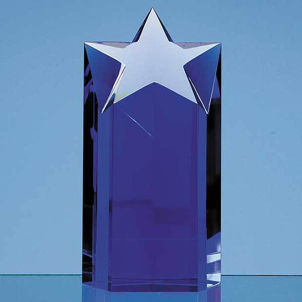 SY2023P -   18cm Sapphire Blue Optic Star Column Award - (Fully Engraved)
