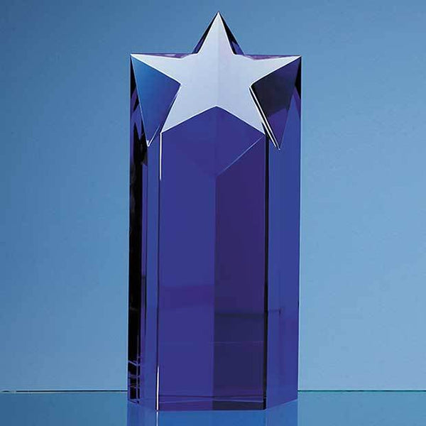 SY2024P -   20cm Sapphire Blue Optic Star Column Award - (Fully Engraved)