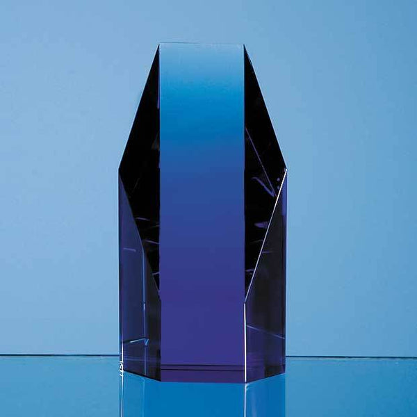SY2025P -   12.5cm Sapphire Blue Optical Crystal Hexagon Award - (Fully Engraved)
