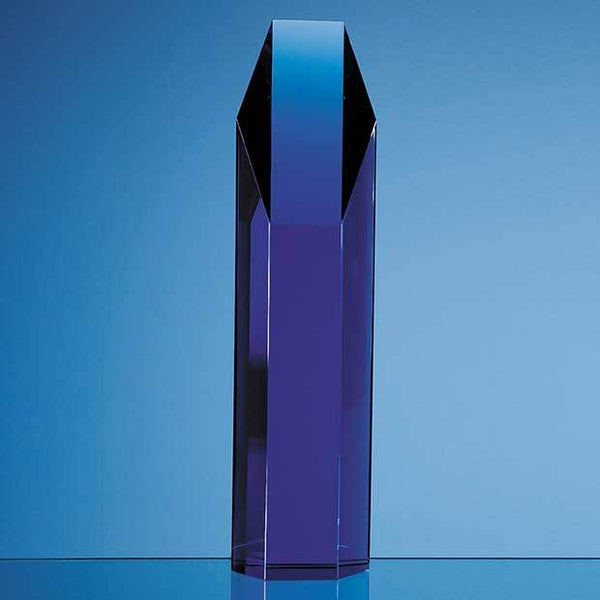 SY2027P -   25.5cm Sapphire Blue Optical Crystal Hexagon Award - (Fully Engraved)