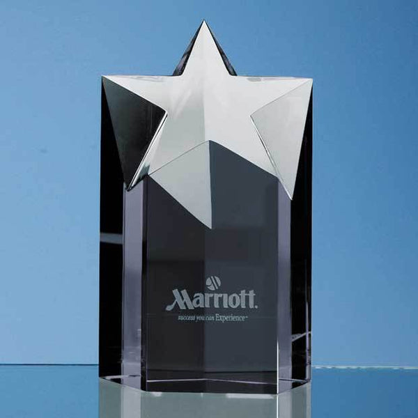 SY2028P -   15cm Onyx Black Optic Star Column Award - (Fully Engraved)