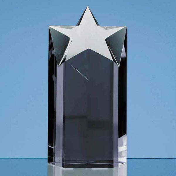 SY2029P -   18cm Onyx Black Optic Star Column Award - (Fully Engraved)
