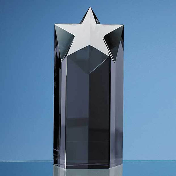 SY2030P -   20cm Onyx Black Optic Star Column Award - (Fully Engraved)
