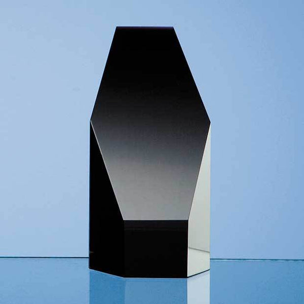 SY2031P -   12.5cm Onyx Black Optical Crystal Hexagon Award - (Fully Engraved)