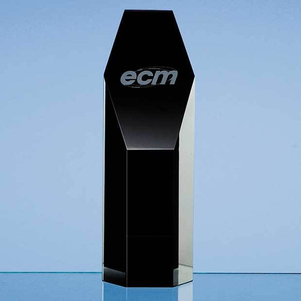 SY2032P -   19cm Onyx Black Optical Crystal Hexagon Award - (Fully Engraved)