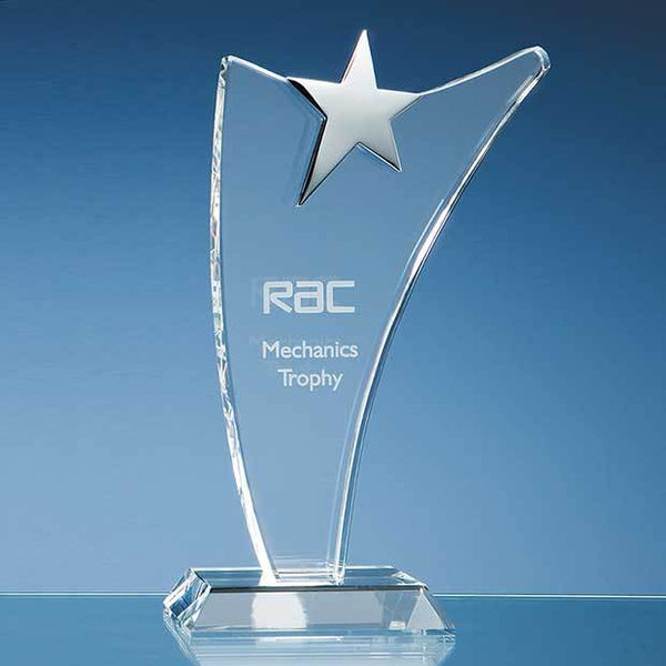 SY2034P -   25cm Optical Crystal Swoop Award with Silver Star - (Fully Engraved)