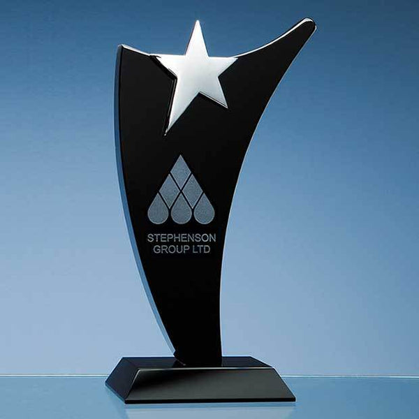 SY2036P -   25cm Onyx Black Optic Swoop Award with Silver Star - (Fully Engraved)
