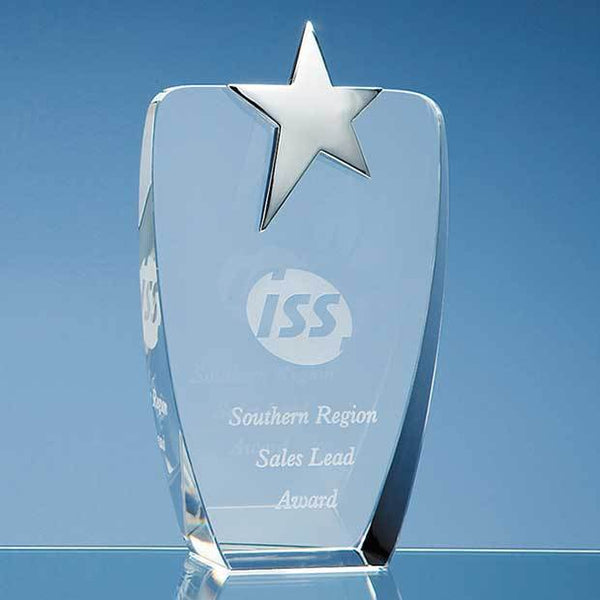 SY2041P -   19.5cm Optical Crystal Oval Award with Silver Star - (Fully Engraved)