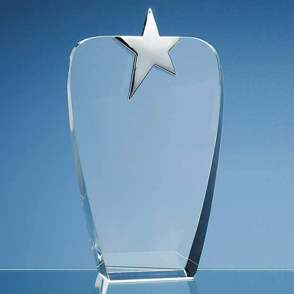 SY2042P -   22.5cm Optical Crystal Oval Award with Silver Star - (Fully Engraved)