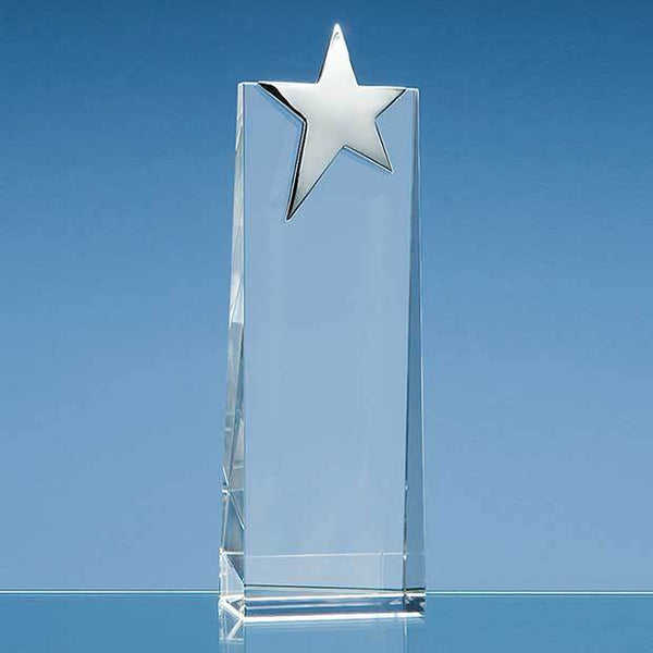 SY2046P -   22.5cm Optical Crystal Rectangle with Silver Star - (Fully Engraved)