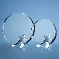 15cm Optical Crystal Circle Award with Silver Star