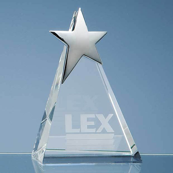 SY2049P -   15cm Optical Crystal Triangle Award with Silver Star - (Fully Engraved)