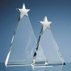 25cm Optical Crystal Triangle Award with Silver Star