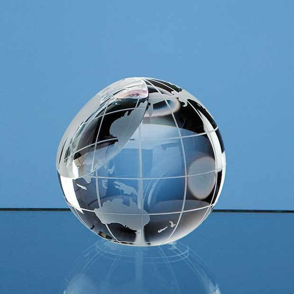 SY2078P -   6cm Optical Crystal Globe Paperweight - (Fully Engraved)