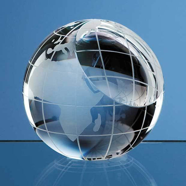 SY2079P -   8cm Optical Crystal Globe Paperweight - (Fully Engraved)