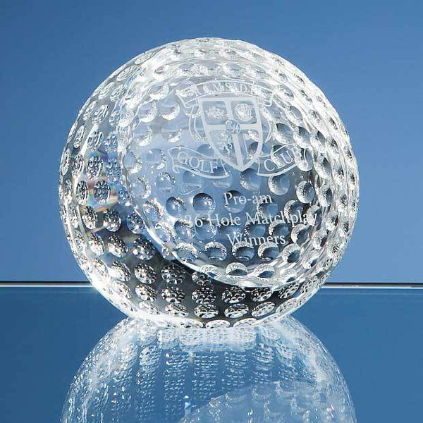 SY2084P -   8cm Optical Crystal Golf Ball Paperweight - (Fully Engraved)