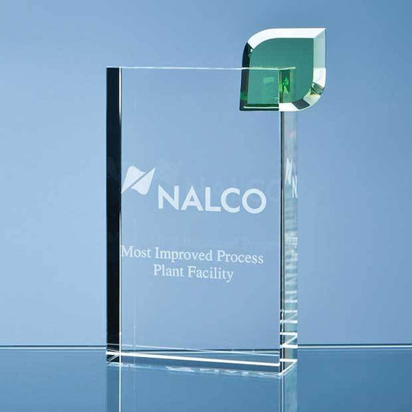 SY3006P -   17cm Optical Crystal 'Eco Excellence' Award with a Single Green Leaf - (Fully Engraved)