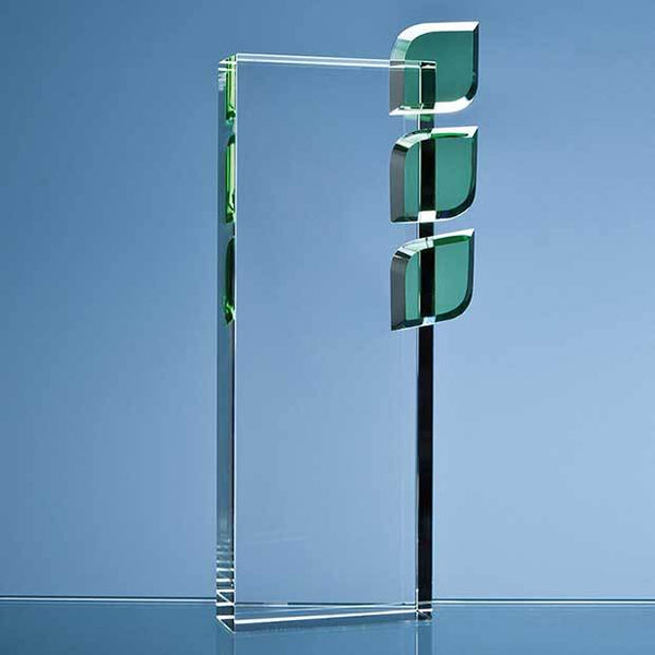 SY3008P -   27cm Optical Crystal 'Eco Excellence' Award with Triple Green Leafs - (Fully Engraved)