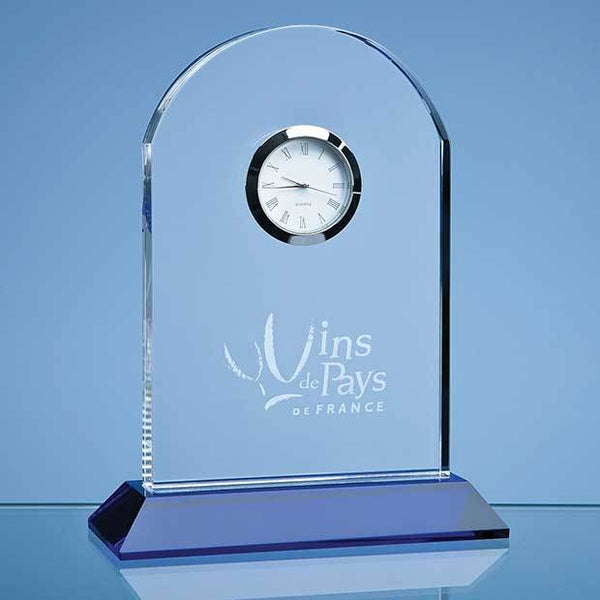 SY3010P -   16cm Optical Crystal Arch Clock Mounted on a Cobalt Blue Base - (Fully Engraved)