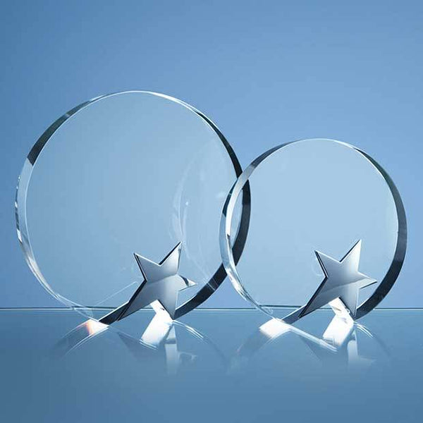 SY3021P -   18cm Optical Crystal Circle Award with Silver Star - (Fully Engraved)