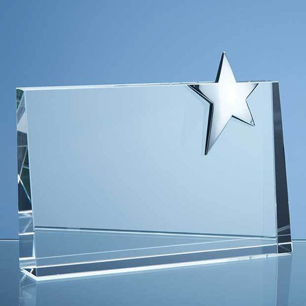SY3023P -   20cm Optical Crystal Horizontal Rectangle with Silver Star - (Fully Engraved)