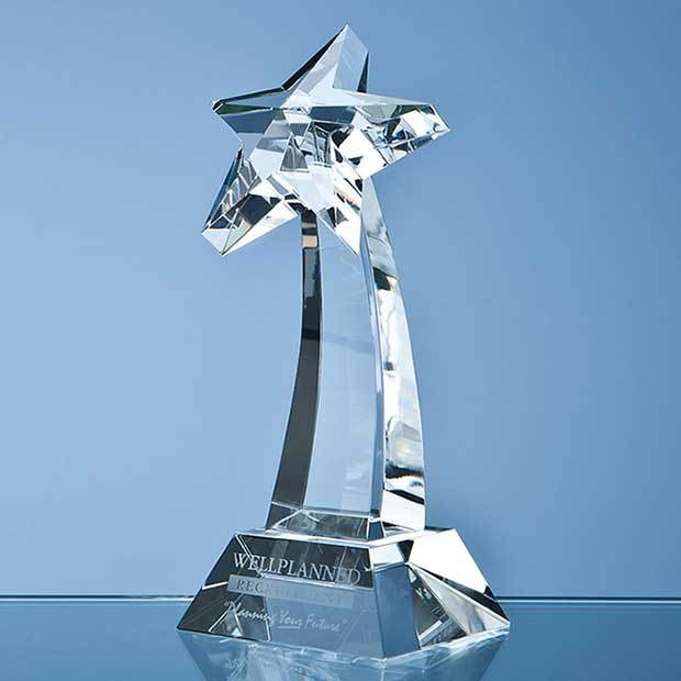 16cm Optical Crystal Mounted Shooting Star Award