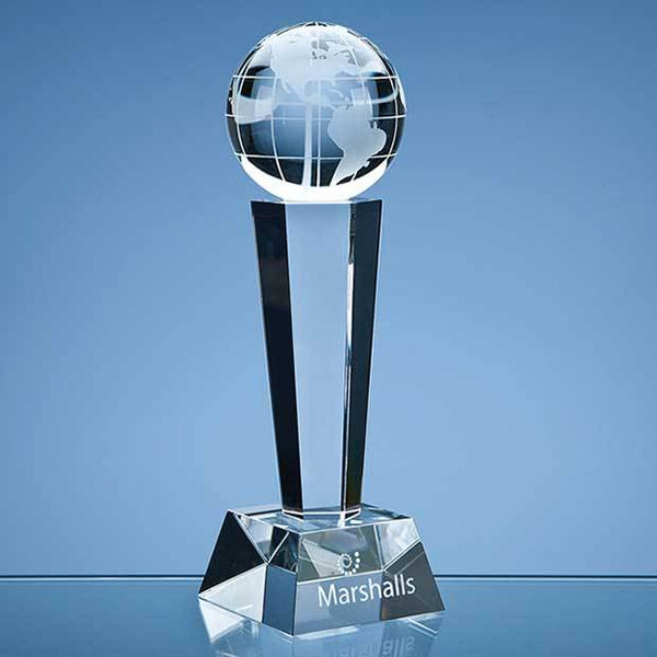 SY3030P -   26cm Optical Crystal Facetted Globe Column Award - (Fully Engraved)