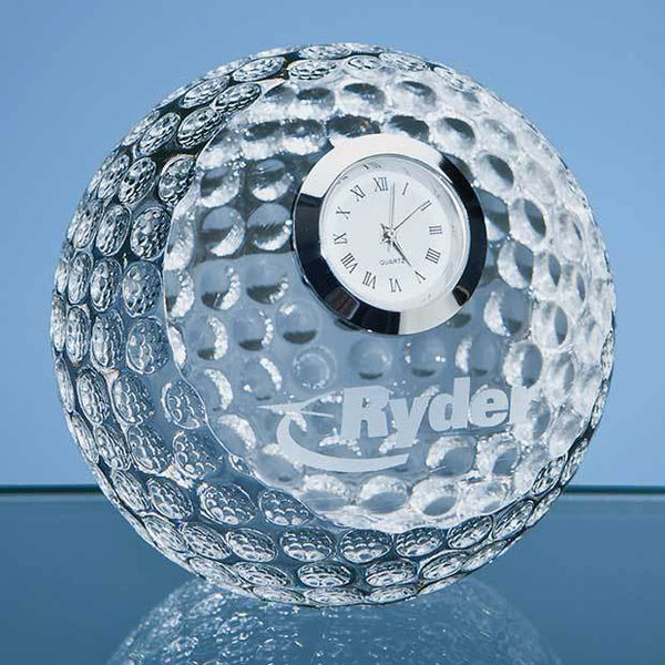 SY3034P -   8cm Optical Crystal Golf Ball with Clock - (Fully Engraved)
