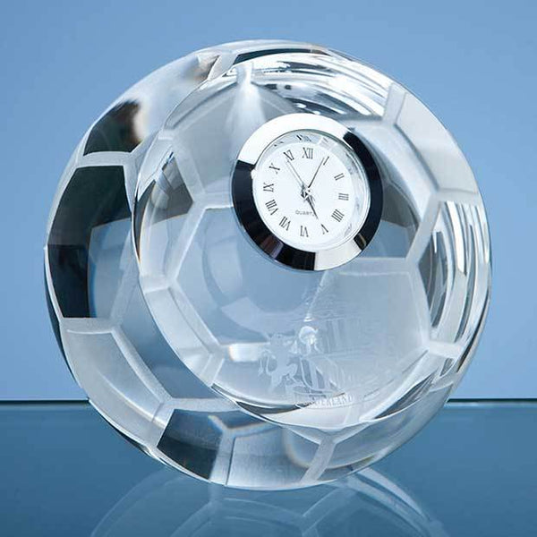 SY3038P -   8cm Optical Crystal Football with Clock - (Fully Engraved)