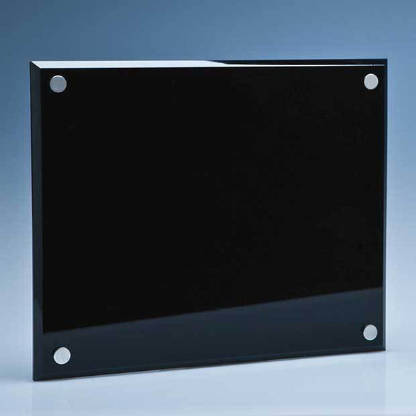 SY3058P -   25cm x 20cm Onyx Black Wall Display Plaque inc Fixing Kit - (Fully Engraved)