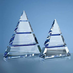 18.5cm Clear Optical Crystal Luxor Award with 2 Cobalt Blue Lines