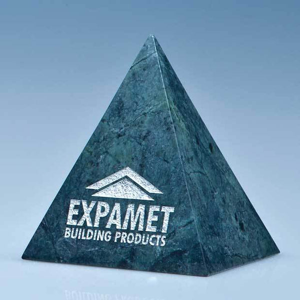 SY3075P -   10cm Green Marble 4 Sided Pyramid Award* - (Fully Engraved)