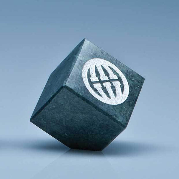SY3078P -   5cm Green Marble Bevel Edged Cube* - (Fully Engraved)