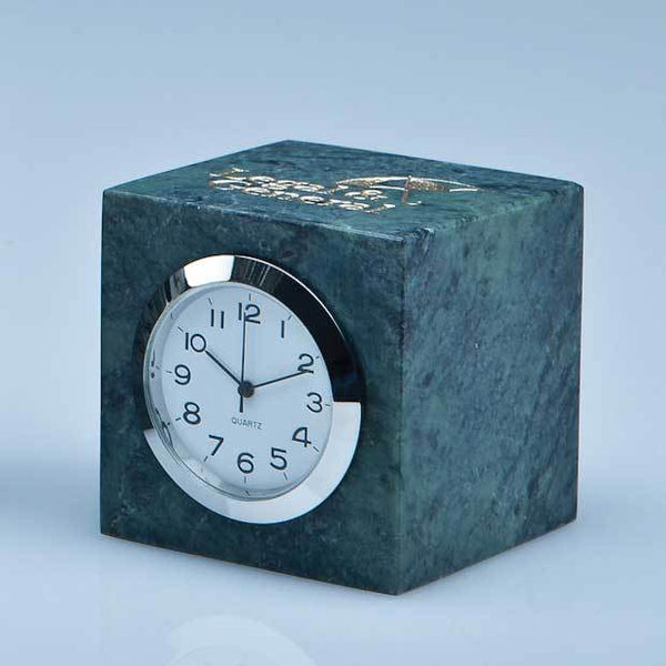 SY3081P -   5cm Green Marble Bevel Edged Cube Clock* - (Fully Engraved)