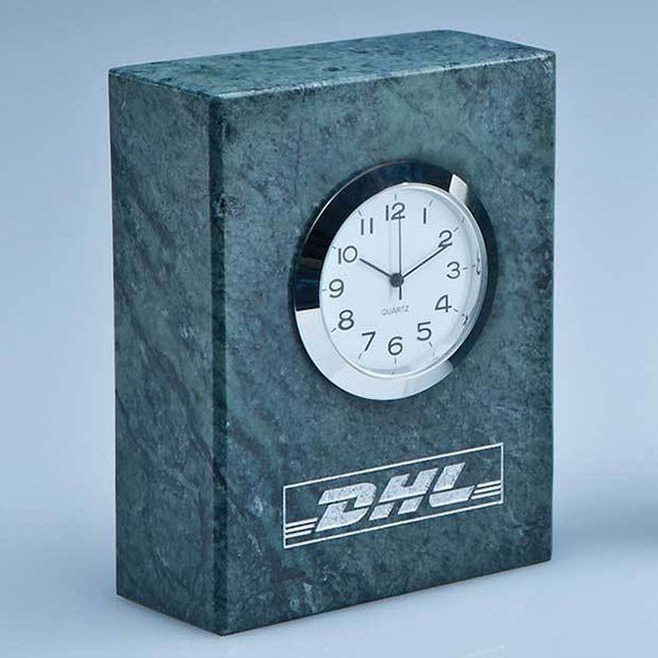 SY3082P -   8cm Green Marble Bevel Edged Rectangle Clock* - (Fully Engraved)