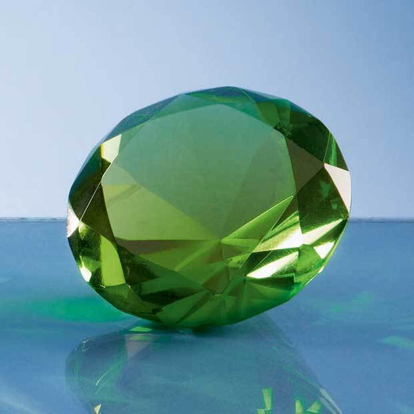 SY4017P -   6cm Optical Crystal Green Diamond Paperweight - (Fully Engraved)