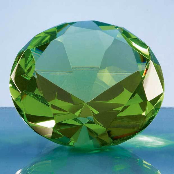 SY4018P -   8cm Optical Crystal Green Diamond Paperweight - (Fully Engraved)