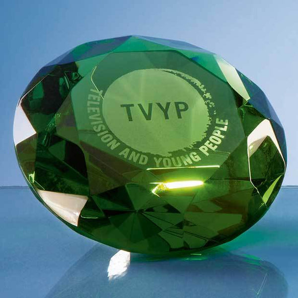 SY4019P -   10cm Optical Crystal Green Diamond Paperweight - (Fully Engraved)
