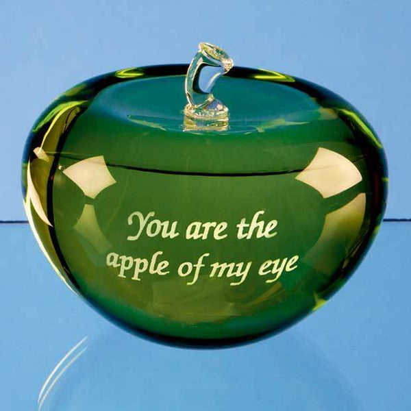 SY4024P -   7.5cm Optical Crystal Green Apple - (Fully Engraved)