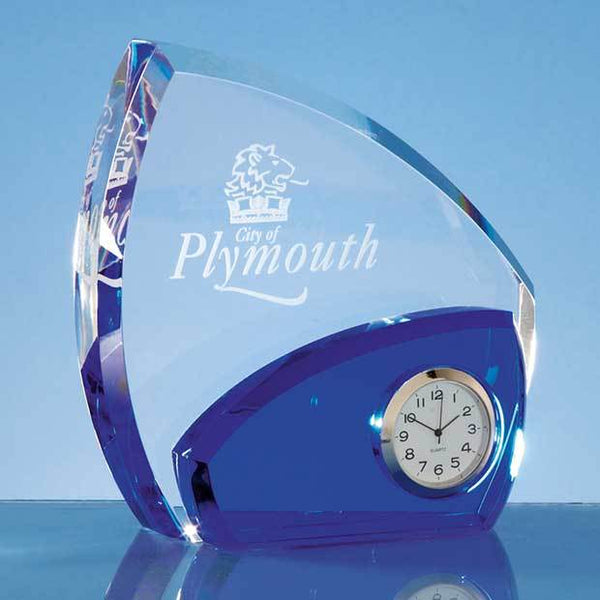 SY4045P -   13.5cm Optical Crystal Clear & Cobalt Blue Clock - (Fully Engraved)