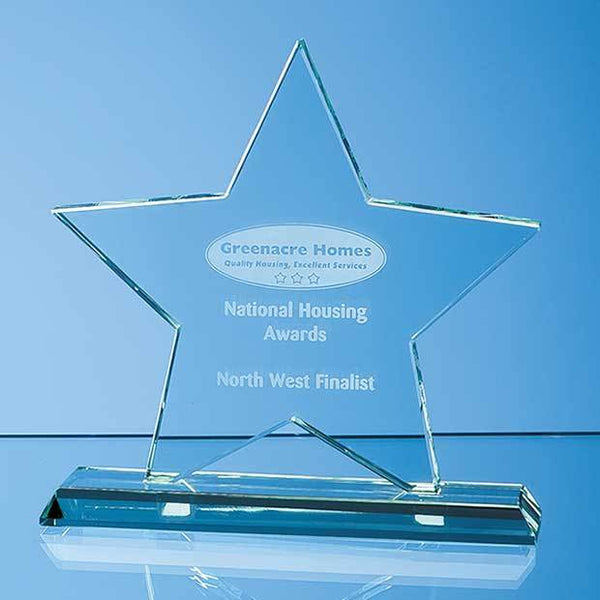 SY4049P -   18cm x 18cm x 12mm Mounted Jade Glass Star Award - (Fully Engraved)
