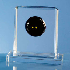15cm Optical Crystal Squash Ball Rectangle Award