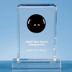 19cm Optical Crystal Squash Ball Rectangle Award