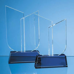 19cm Optical Crystal Double Slope Award on a Sapphire Blue Base