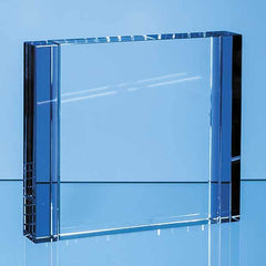 18cm Clear & Cobalt Blue Optical Crystal Column Rectangle Award