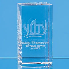 12cm x 6cm x 6cm Optical Crystal Rectangle, H or V