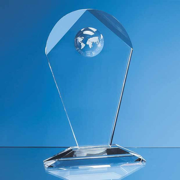 SY5045P -   25.5cm Optical Crystal Arch Award with Recessed Globe - (Fully Engraved)