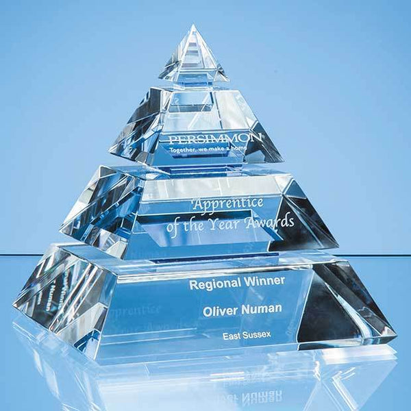SY5061P -   16cm Clear Optical Crystal Luxor Pyramid Award with 3 Cobalt Blue Lines - (Fully Engraved)